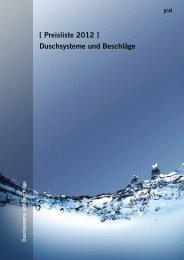 [ Preisliste 2012 ] Duschsysteme und Beschläge