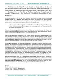 Pressemitteilung No Boder Camp Köln No.6 - No Border Camp