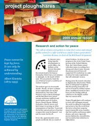 Project Ploughshares Annual Report 2009