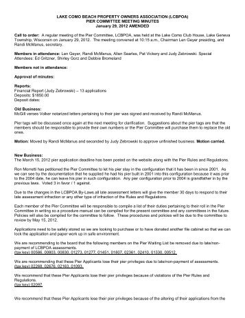 PIER COMMITTEE MEETING MINUTES January 29, 2012 ...