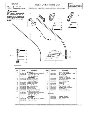 weedeater featherlite xt260 repair manual