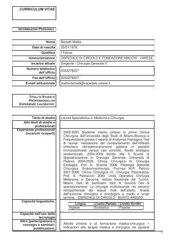 Berselli Mattia - Ospedale di Circolo e Fondazione Macchi