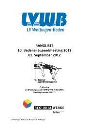 RANGLISTE 10. Badener Jugendmeeting 2012 01. September 20