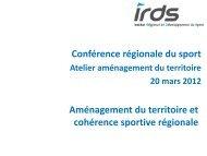 Aménagement du territoire et cohérence sportive régionale