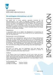 Informationen von A-Z - AGAPLESION BETHANIEN KRANKENHAUS