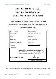 ETSI EN 301 489-1 V1.6.1 ETSI EN 301 489-3 V1.4.1 Measurement ...