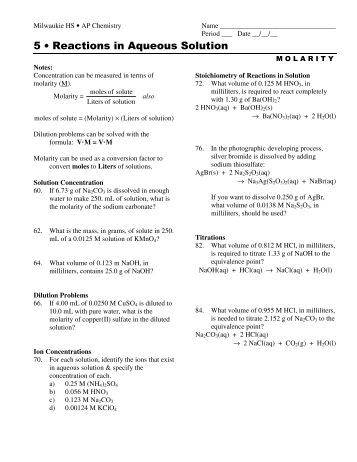 Printables Reactions In Aqueous Solutions Worksheet worksheet 5 solutions electrolytes and concentration the name reactions in aqueous solution milwaukie high school