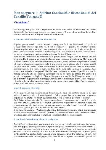 Continuità e discontinuità del Concilio Vaticano II - Meicmarche.it