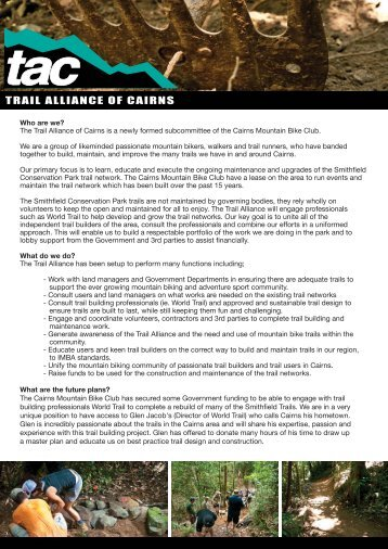 Download the full press release here - Cairns Mountain Bike Club