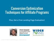 Conversion Rate Optimization - Affiliate Management Days
