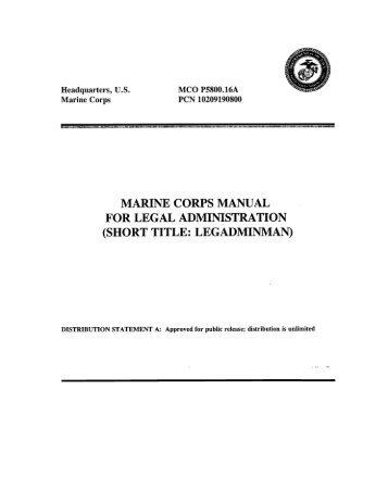 MCO P5800.16A W CH 1-5 MARINE CORPS MANUAL FOR LEGAL ...