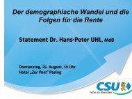 Der demographische Wandel und die Folgen für die ... - gbcms.de