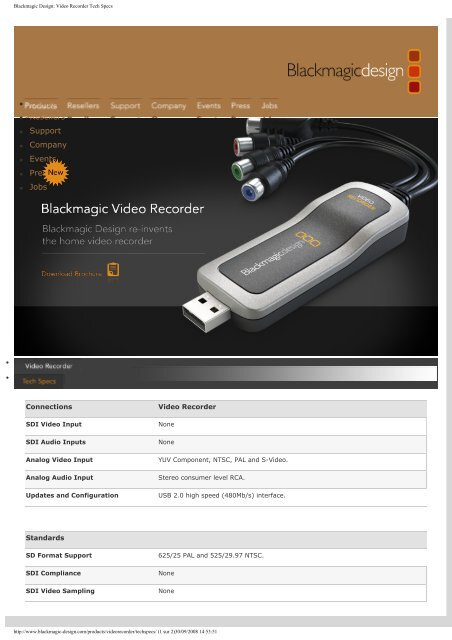 Blackmagic Design Video Recorder Tech Specs Digistore