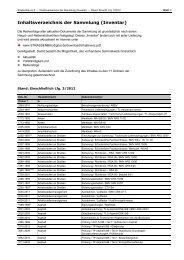 Inhaltsverzeichnis der Sammlung (Inventar)