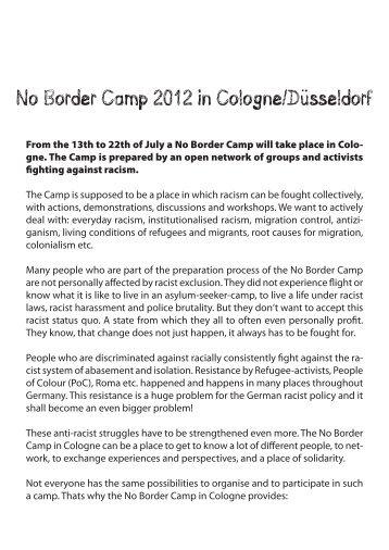 No Border Camp 2012 in Cologne/Düsseldorf