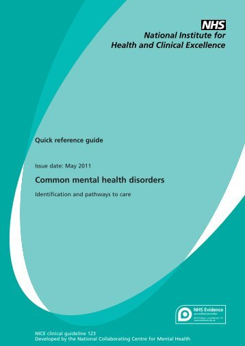 Common mental health disorders - National Collaborating Centre for ...
