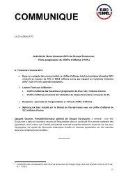 Activité du 3ème trimestre 2013 de Groupe Eurotunnel : forte ...