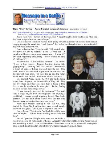 "Hails ""Doc"" Taylor – Anzio Combat Veteran ... - PreciousHeart.net"