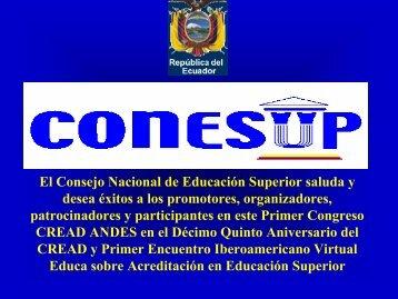 El Consejo Nacional de Educación Superior saluda y ... - Reposital