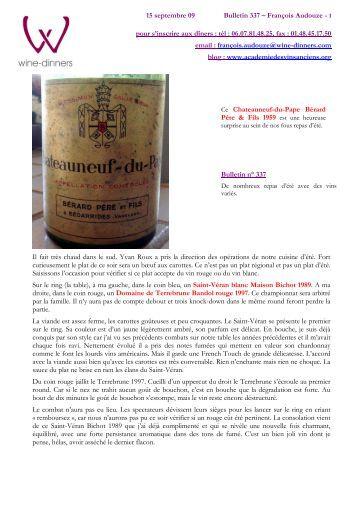 (bulletin WD N° 337 090915) - Les carnets de François Audouze