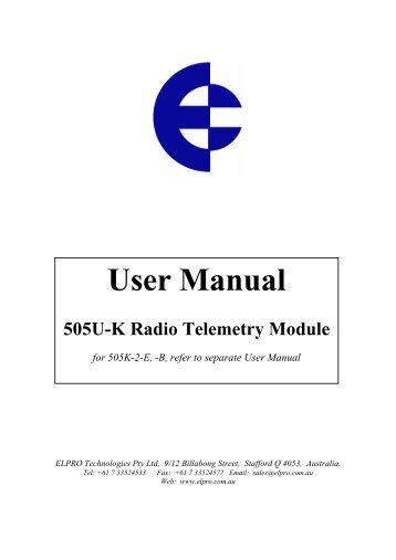 Radio Telemetry (Wireless I/O) - Tabateq catalogue - Elpro 505U-K