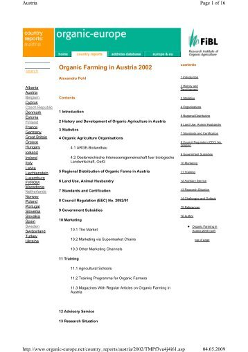 Organic Farming in Austria 2002 - Organic Europe