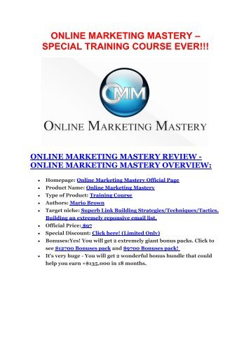 Online Marketing Mastery Review & HUGE $23800 Bonuses