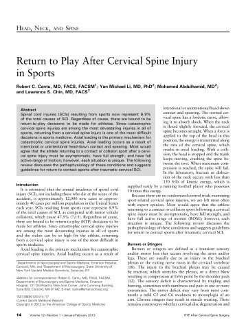 Return to Play After Cervical Spine Injury in Sports