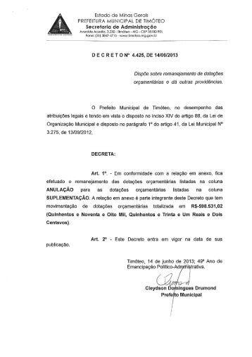 Estado de Minos Gerois l PREFEITURA MUNICIPAL DE TIMOTEO