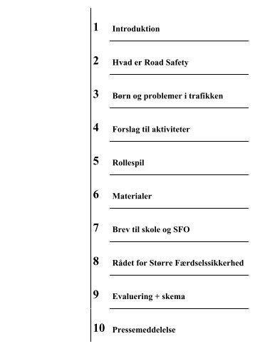 1 Introduktion 2 Hvad er Road Safety 3 Børn og problemer i trafikken ...