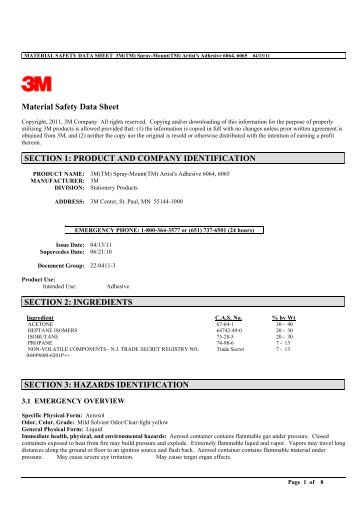 Material Safety Data Sheet SECTION 1: PRODUCT AND ... - 3M