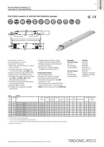 PCA T5 EXCEL one4all lp 14-;35 W 220-;240 V 50/60/0 Hz, dimmable