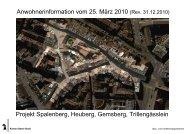 Projekt Spalenberg, Heuberg, Gemsberg, Trillengässlein ...