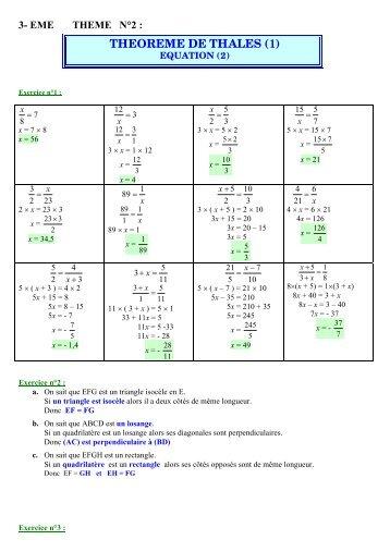 3- eme theme n°2 : theoreme de thales (1)