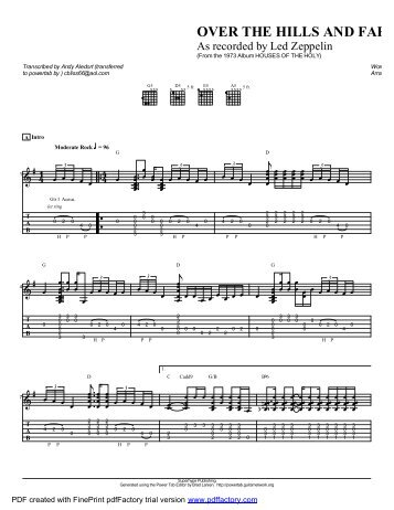 """Over The Hills and Far Away"" (PDF) - Guitar Alliance"