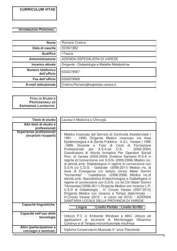 Romano Cristina - Ospedale di Circolo e Fondazione Macchi