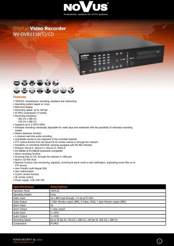 Digital Video Recorder NV-DVR1116(S)/CD