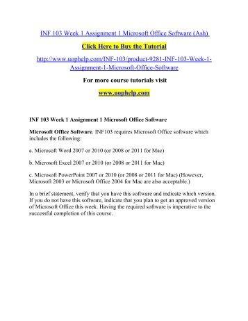 inf 103 week 1 assignment 1 microsoft office softwareuophelp