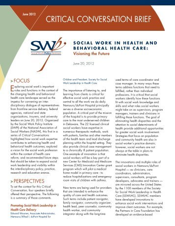 CRITICAL CONVERSATION BRIEF - Social Work Policy Institute