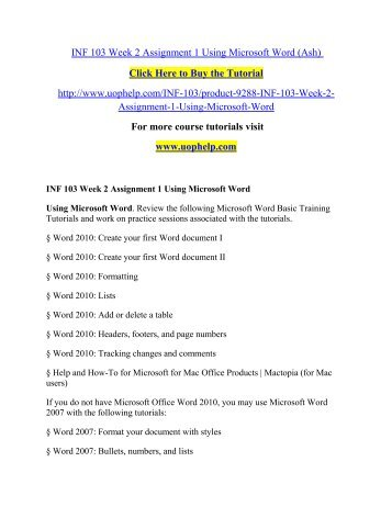 INF 103 Course Real Knowledge - tutorialrank.com