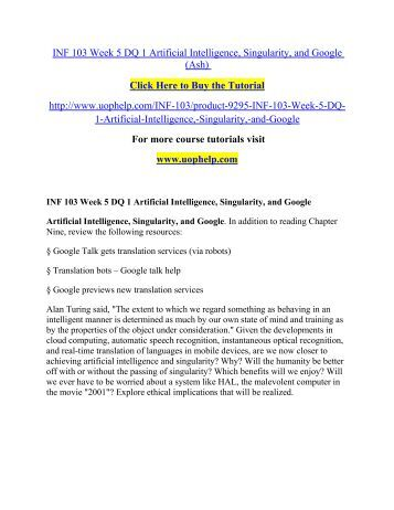 INF 103 Week 5 DQ 1 Artificial Intelligence/Uophelp
