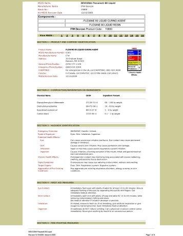FLEXANE 80 LIQUID CURING AGENT FLEXANE 80 ... - Farnell