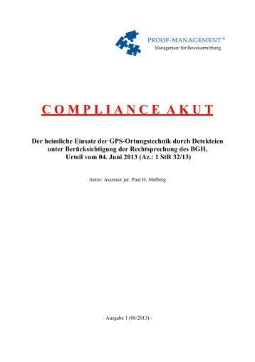 COMPLIANCE AKUT - PROOF-MANAGEMENT GmbH