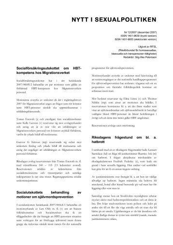 Nummer 12, 2007 (pdf 100 kB) - RFSL