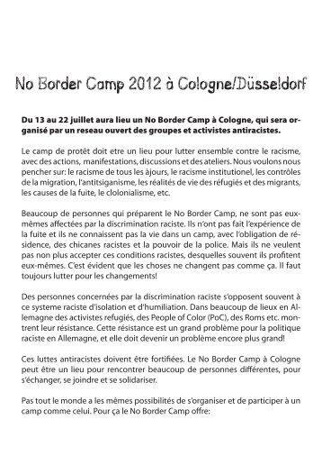 No Border Camp 2012 à Cologne/Düsseldorf