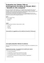 Questionnaire d'évaluation de l'atelier du 26 juin 2012