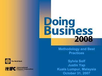 Doing Business 2008 - Malaysia Methodology and Best Practises