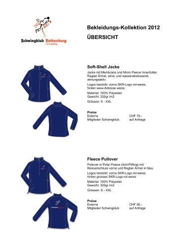 Bekleidungs-Kollektion 2012 ÜBERSICHT - Schwingklub Rothenburg