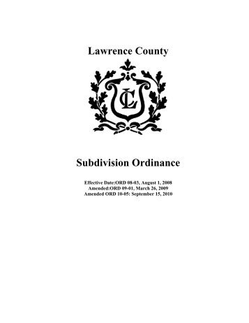 Subdivision Regulations - Lawrence County