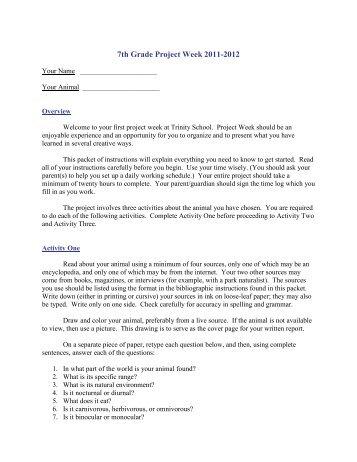 7th Grade Project Week 2011-2012 - Trinity School